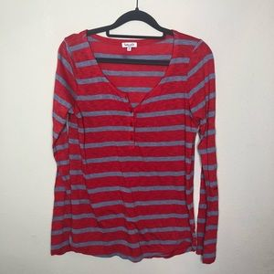 Splendid Red and Gray Striped Henley Tee Small